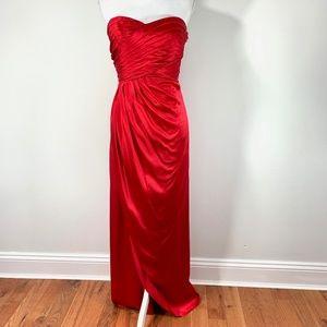 Kay Unger Red Silk Maxi Evening Dress